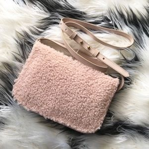 Madewell Pink Genuine Shearling Crossbody Bag NWT